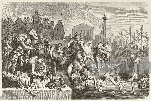 vandales in europe, c.4th to c.6th century, wood engraving, published 1881 - ancient rome stock illustrations