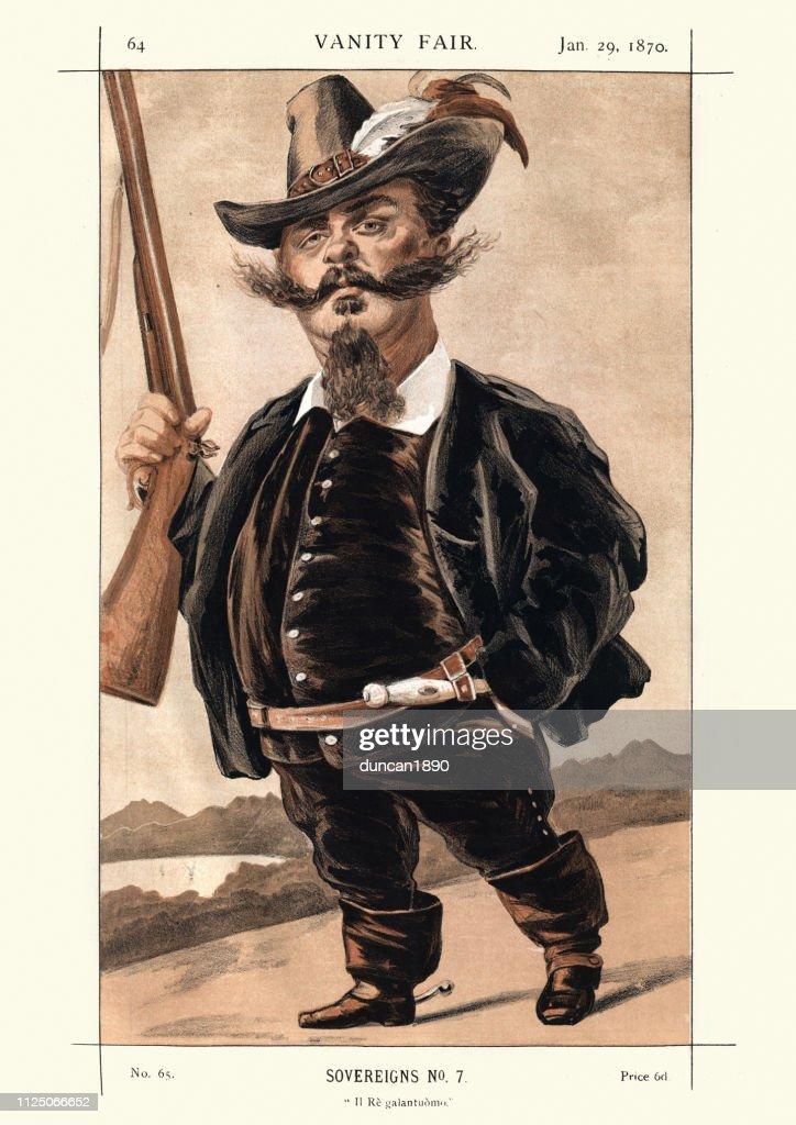 Vanity Fair caricature, King Victor Emmanuel II of Italy : stock illustration
