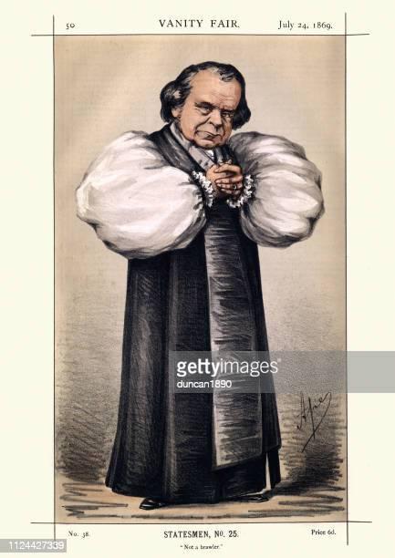 ilustrações, clipart, desenhos animados e ícones de vanity fair caricatura de samuel wilberforce, bispo de oxford - bishop clergy