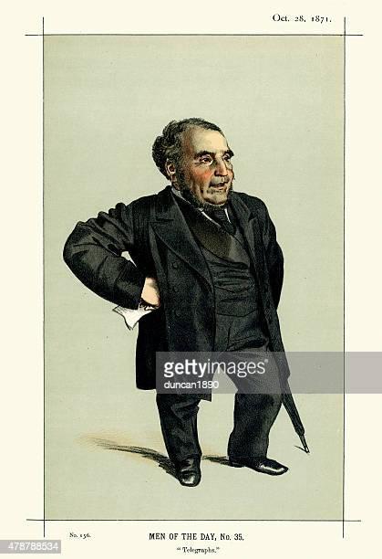 vanity fair print of sir john pender - historical clothing stock illustrations