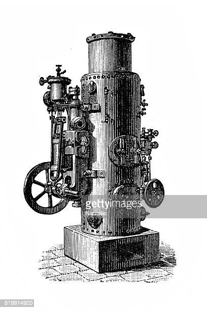 vapor pump with vertical boiler - boiler stock illustrations, clip art, cartoons, & icons