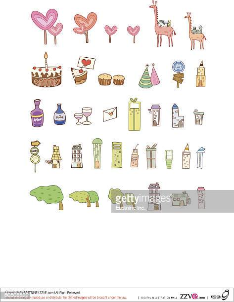 variation of colorful objects displayed in a row against white background - dessert topping stock illustrations, clip art, cartoons, & icons