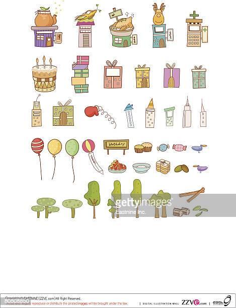 ilustraciones, imágenes clip art, dibujos animados e iconos de stock de variation of colorful objects displayed in a row against white background - pollo asado