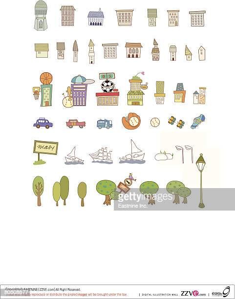 variation of colorful objects displayed in a row against white background - spire stock illustrations, clip art, cartoons, & icons