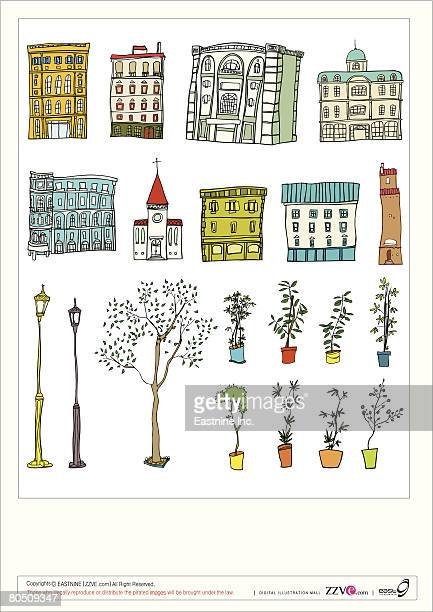 ilustraciones, imágenes clip art, dibujos animados e iconos de stock de variation of objects displayed against white background - spire