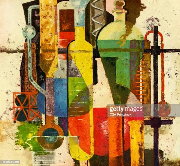 ilustraciones, imágenes clip art, dibujos animados e iconos de stock de variedad de matraces y tubos de ensayo - material de vidrio de laboratorio