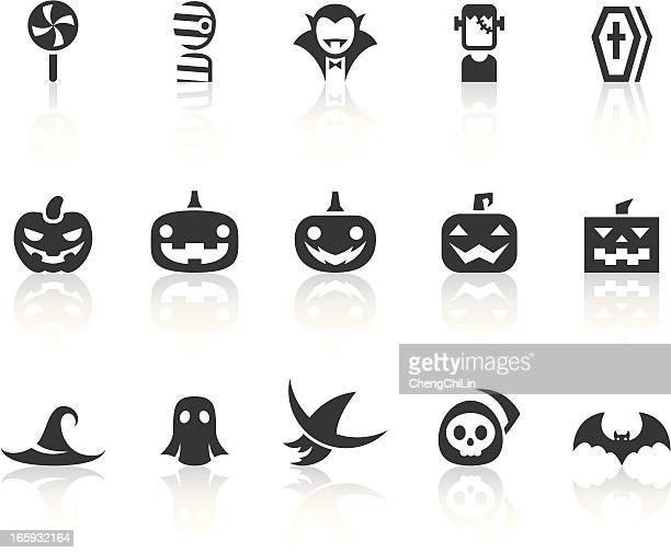 variety of halloween icons | simple black series - vampire stock illustrations, clip art, cartoons, & icons