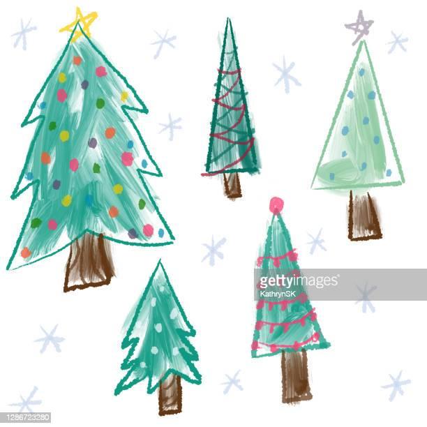 various christmas trees - kathrynsk stock illustrations