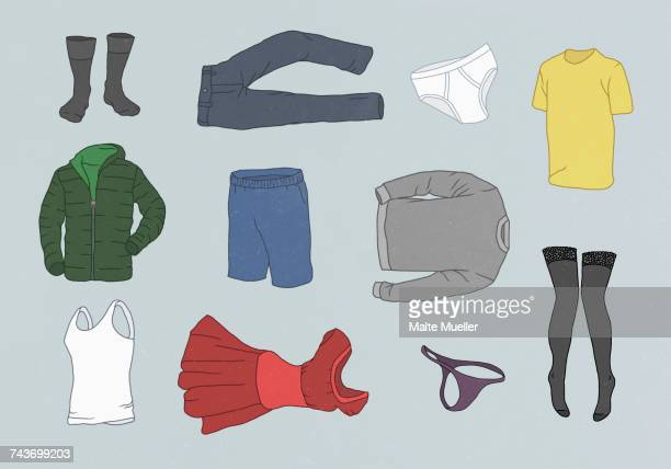 ilustraciones, imágenes clip art, dibujos animados e iconos de stock de various clothes against gray background - pantalón corto
