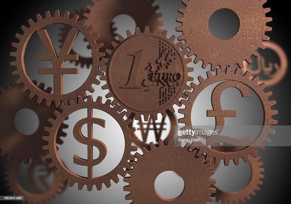 Various Currency Symbols Cog Wheels Illustration Stock Illustration