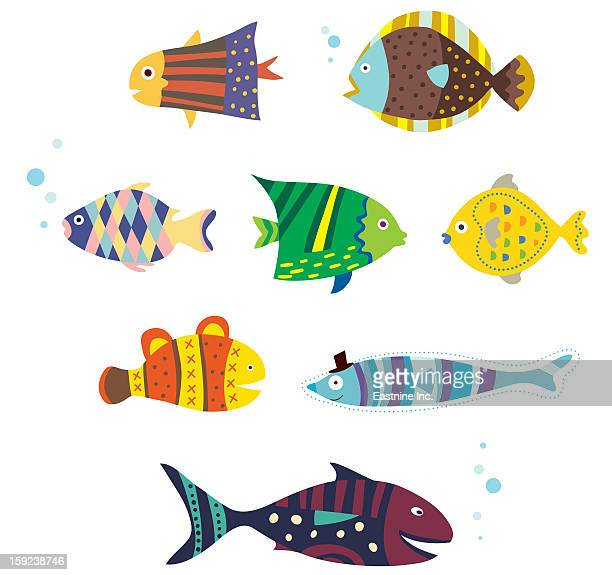 ilustraciones, imágenes clip art, dibujos animados e iconos de stock de various fishes - diving flipper