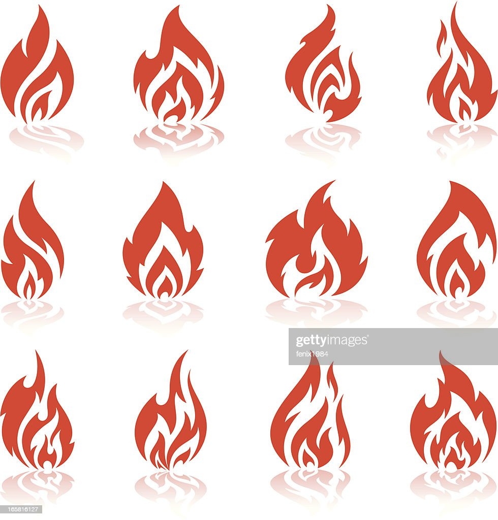 Various Flame And Fire Symbols Vector Art Getty Images