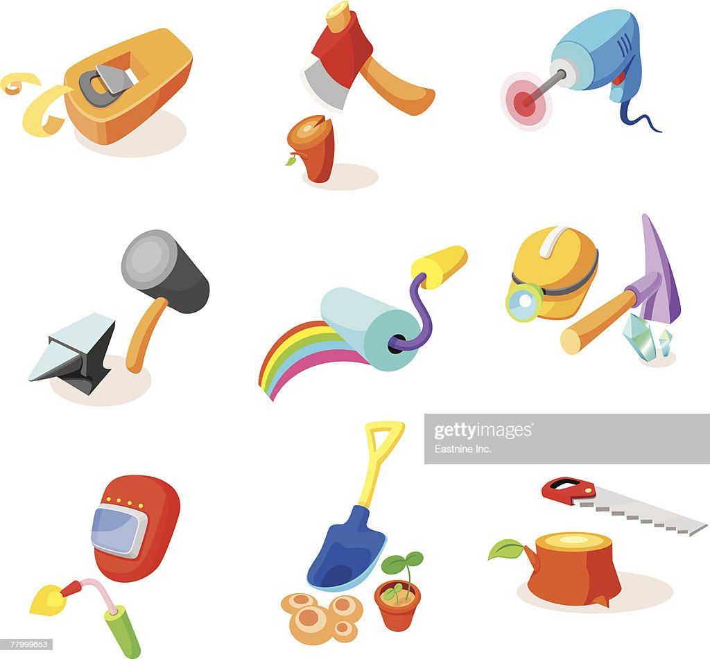 Various hand tools on a white background : Ilustración de stock