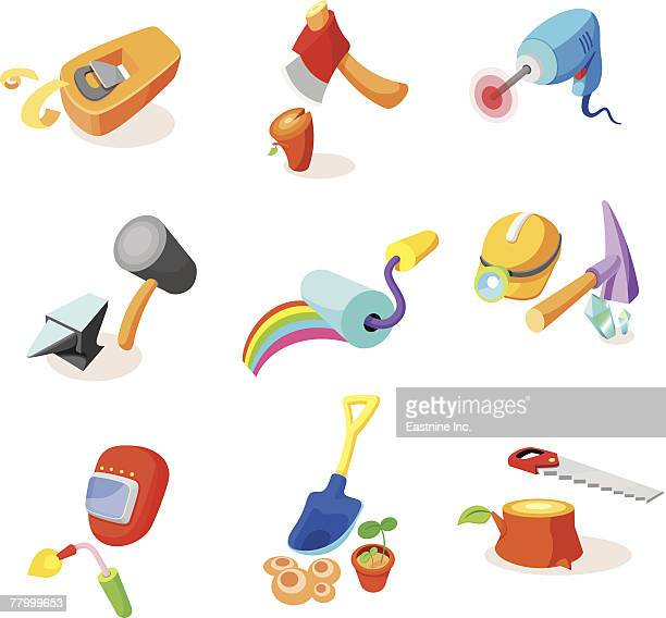 ilustraciones, imágenes clip art, dibujos animados e iconos de stock de various hand tools on a white background - soldador