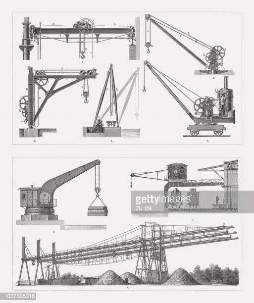 various historical crane systems, wood engravings, published in 1897 - metal industry stock illustrations