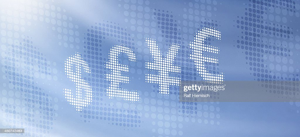 Various International Currency Symbols Reflected Against Abstract