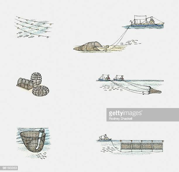 Various methods of catching fish, using nets and lobster pots