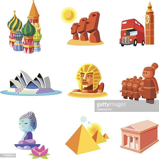 ilustrações de stock, clip art, desenhos animados e ícones de various monuments of world - megalith