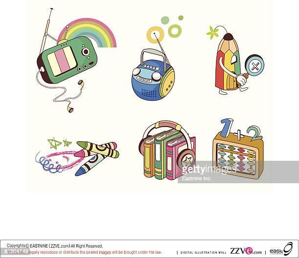 ilustrações, clipart, desenhos animados e ícones de various objects displayed against white background - livro de capa dura