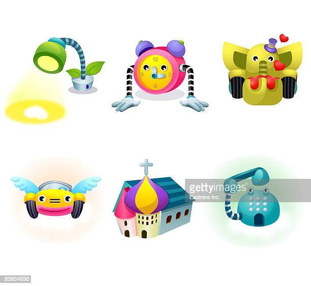 various objects displayed against white background - spire stock illustrations, clip art, cartoons, & icons