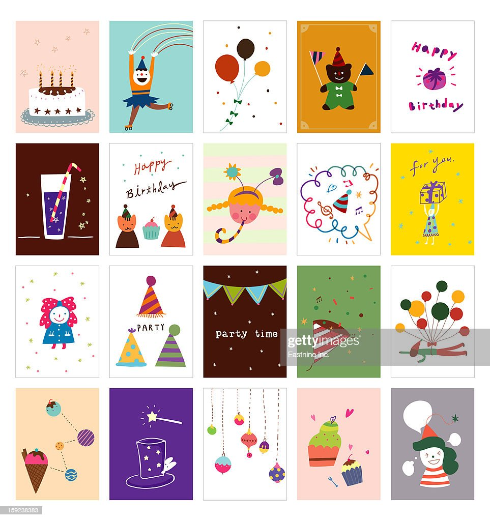 Various party cards : stock illustration