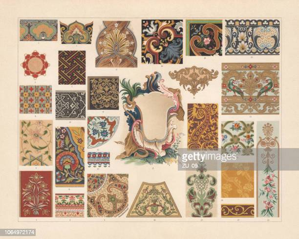 various patterns of the baroque and asia, chromolithograph, published 1897 - 18th century stock illustrations