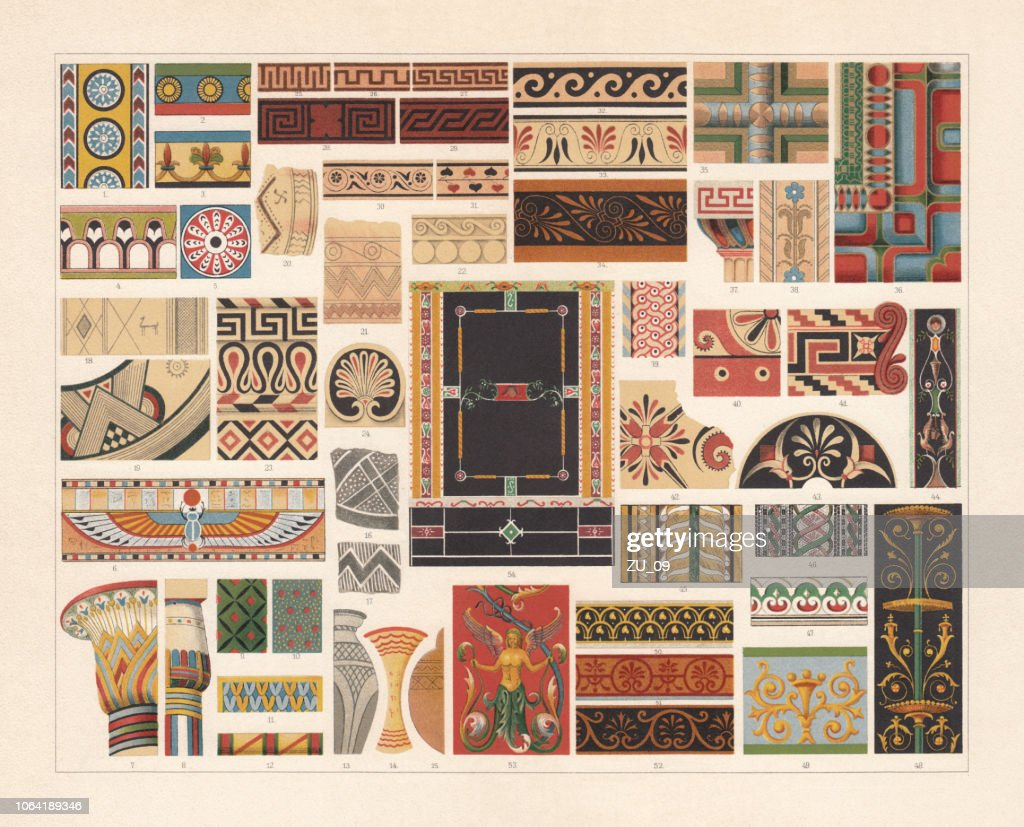 Various patterns of Antiquity, chromolithograph, published in 1897 : stock illustration