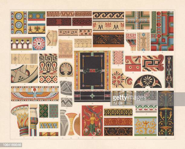 various patterns of antiquity, chromolithograph, published in 1897 - classical greek style stock illustrations