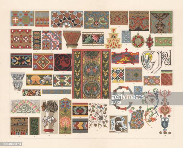 various patterns of the middle ages, chromolithograph, published in 1897 - byzantine stock illustrations
