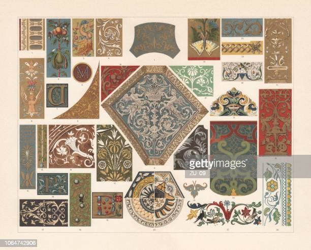 various patterns of the renaissance, chromolithograph, published in 1897 - italy stock illustrations