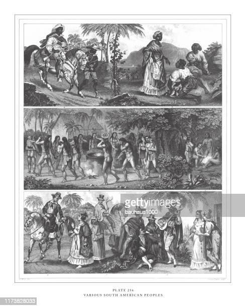 illustrations, cliparts, dessins animés et icônes de divers peuples sud-américains gravure antique illustration, publié en 1851 - paraguay