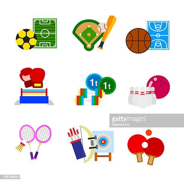 ilustraciones, imágenes clip art, dibujos animados e iconos de stock de various sports - cancha futbol