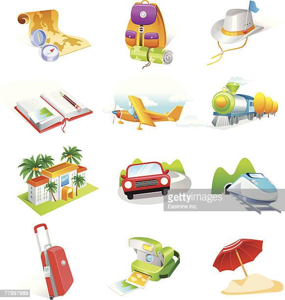 various traveling favors icons - picnic blanket stock illustrations, clip art, cartoons, & icons