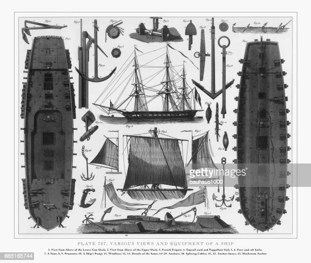 Various Views and Equipment of a Ship Engraving, 1851