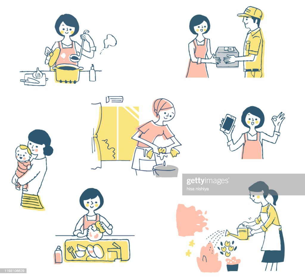 Various work scenes for everyday housewife : stock illustration