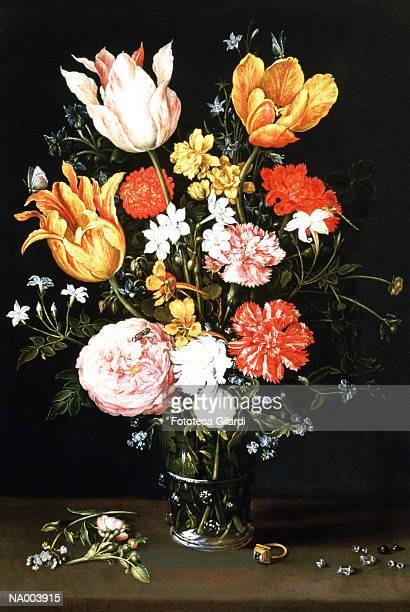 stockillustraties, clipart, cartoons en iconen met vase of flowers with ring and diamonds - stilleven