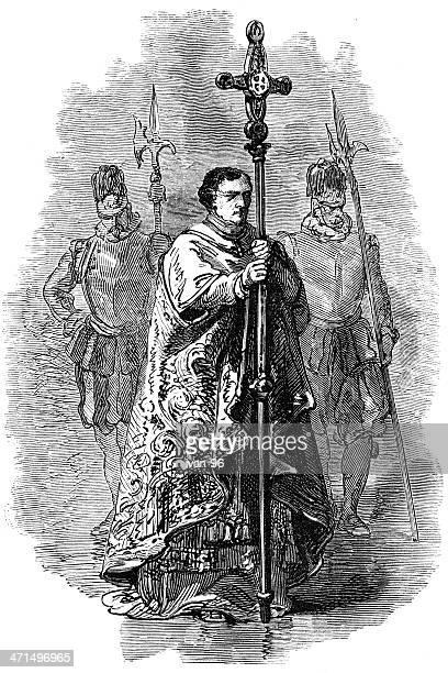 vatican crucifix bearer - religious dress stock illustrations, clip art, cartoons, & icons