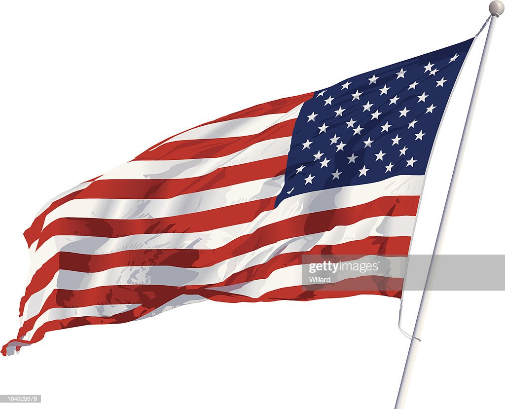Vector American flag isolated on white