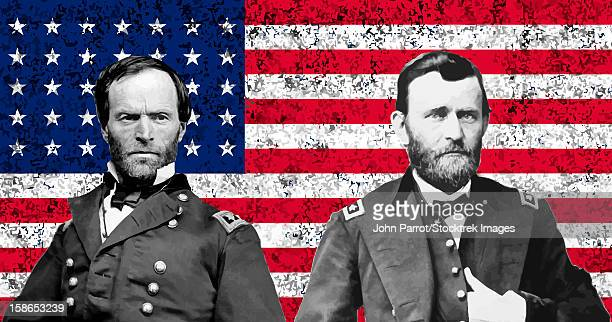 vector artwork of general sherman and general ulysses s. grant in front of american flag. - ulysses s grant stock illustrations