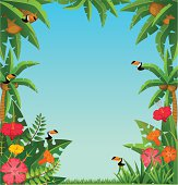 Vector background with tropical plants
