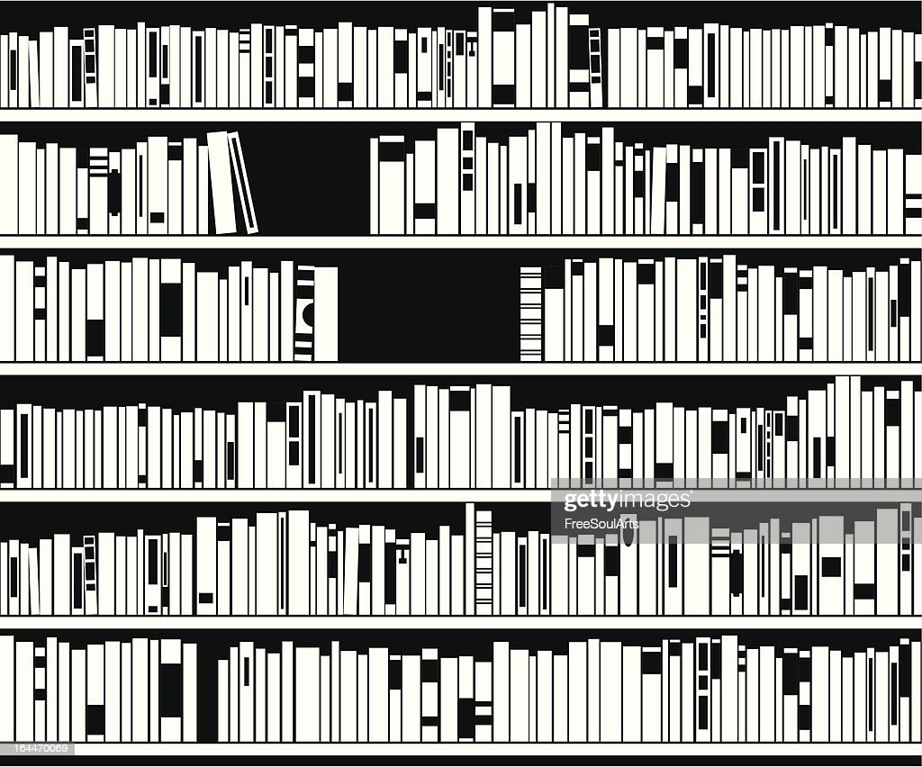 vector black and white bookshelf