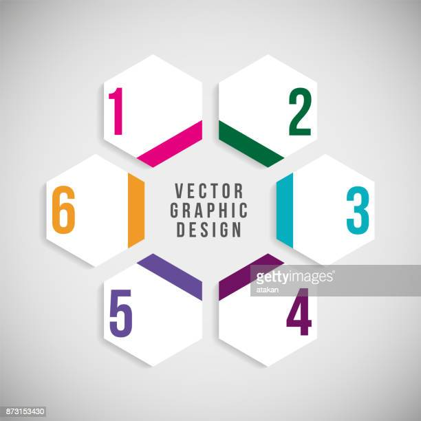 ilustrações, clipart, desenhos animados e ícones de modelos de gráfico de vetor para infográficos com 6 opções - número 6