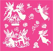 vector fairys and flowers set
