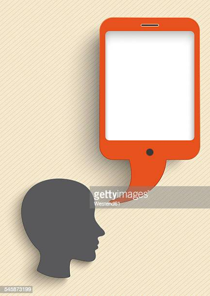 vector illustration, head with smart phone speech bubble against beige background - thought bubble stock illustrations