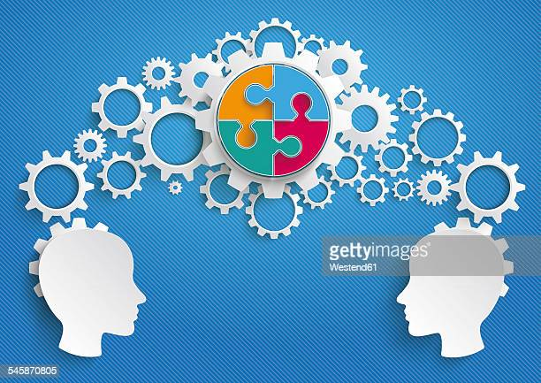 Vector Illustration, heads, gears and puzzle