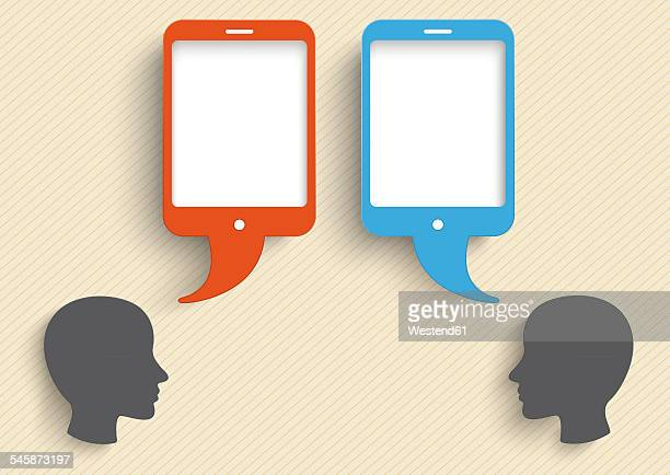 vector illustration, heads with smart phone speech bubbles against beige background - social media stock illustrations
