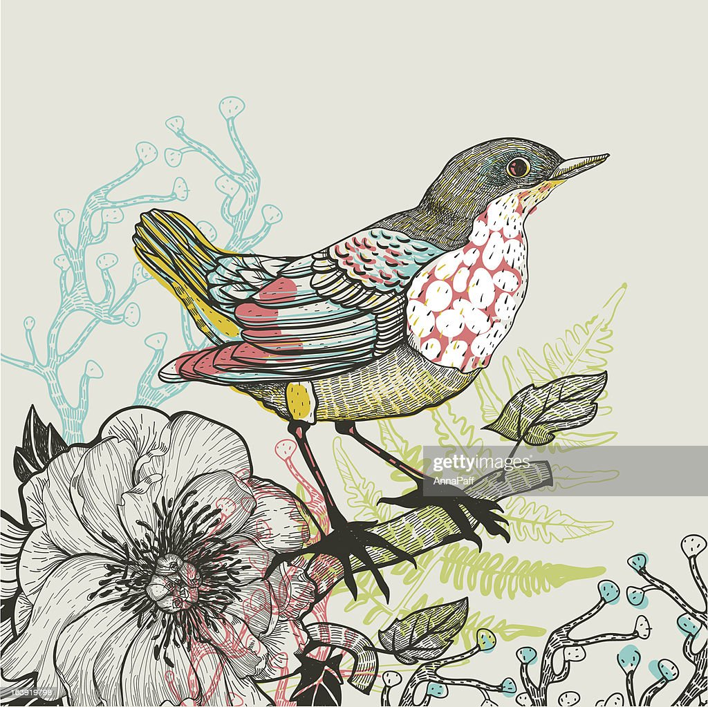 vector illustration of a bird and plants