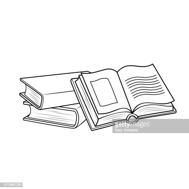 vector illustration of book isolated on white background for kids coloring book. - exercise book stock illustrations