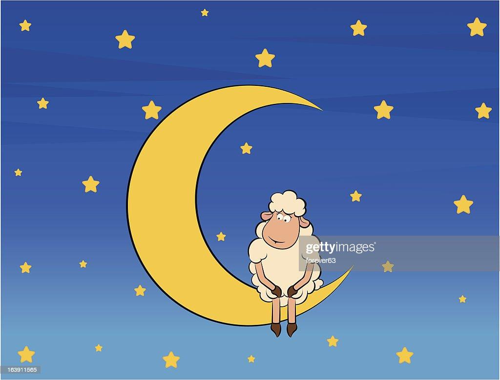 Vector Illustration of cute sheep on moon
