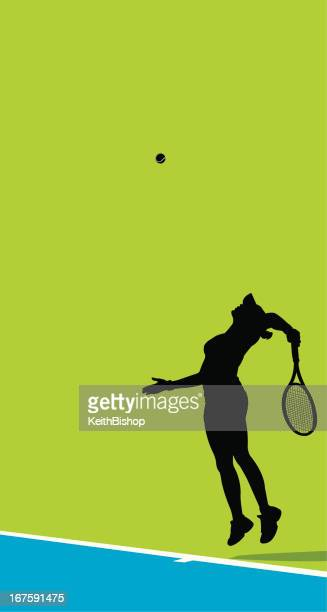 vector illustration of female tennis player - traditional sport stock illustrations, clip art, cartoons, & icons